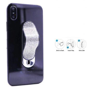 حزام الأصبع للهواتف المحمول مع قطعتي تركيب من Gripon - أبيض ماسي/فضي