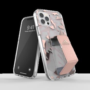 كفر مع حامل Adidas - SPORT Apple iPhone 12 Pro Clear Grip Case or Stand - زهري