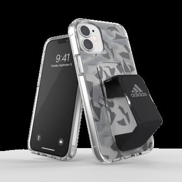 كفر مع حامل Adidas - SPORT Apple iPhone 12 Mini Clear Grip Case or Stand - أسود  رمادي