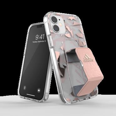 كفر مع حامل Adidas - SPORT Apple iPhone 12 Mini Clear Grip Case or Stand - زهري