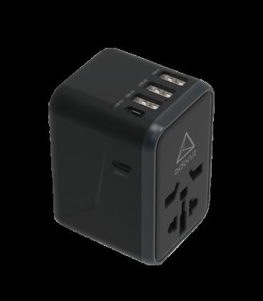 ADONIT Universal Adapter 3A2C - International Wall Charger PD 61W (3 USB-A + 2 USB-C) - Black