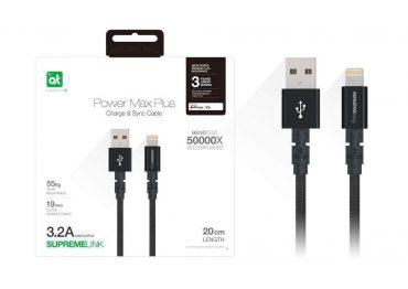 كابل AMAZINGTHING - AT POWER MAX+ LIGHTNING TO USB-A CABLE 0.20M - أسود