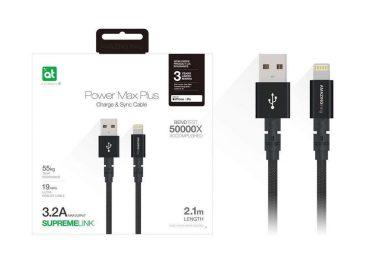 كابل AMAZINGTHING - AT POWER MAX+ LIGHTNING TO USB-A CABLE 2.1M - أسود
