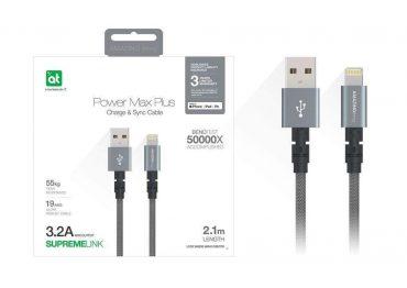 كابل AMAZINGTHING - AT POWER MAX+ LIGHTNING TO USB-A CABLE 2.1M - رمادي