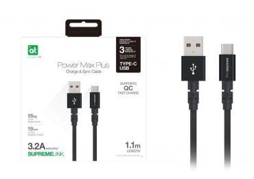 كابل AMAZINGTHING - AT POWER MAX+ TYPE-C TO USB-A CABLE 1.1M - أسود