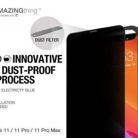 "شاشة حماية AMAZINGTHING - AT IPHONE 11 PRO MAX 6.5"" 0.3M 2.75D MATTE PRIVACY EX-BUL DUST F GLASS - أسود"