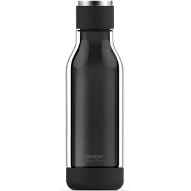 زجاجة ماء مغلفة بالزجاج Asobu - Travel Water Bottle 17 Ounce - أسود