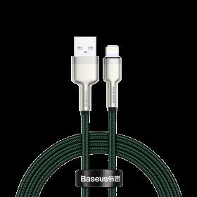 كابل Baseus Cafule Series Metal Data Cable USB to IP 2.4A 2 متر أخضر
