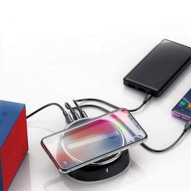 الشاحن اللاسلكي Baseus 2 in 1 wireless charger (3 USB 3.4A/ Wireless 10W)أسود