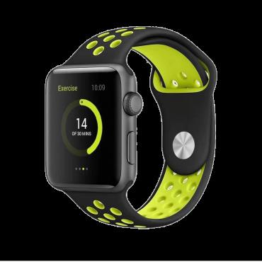 حزام ساعة BeHello - Apple Watch 42/44mm Silicone Strap - أسود / أصفر