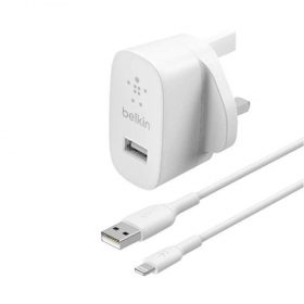 شاحن Belkin - USB-A Wall Charger 12W with Lightning Cable 1M - أبيض