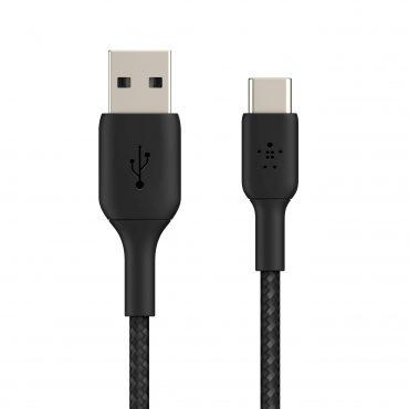 كابل Belkin - Boost Charge USB-C to USB-A Braided Cable 1Meter - أسود