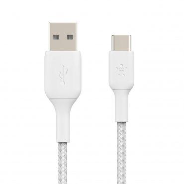كابل Belkin - Boost Charge USB-C to USB-A Braided Cable 1Meter - أبيض