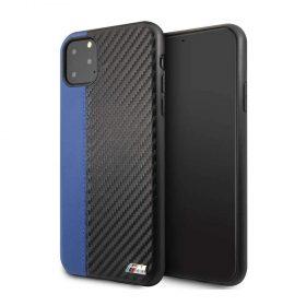 كفر BMW - PU Leather Carbon Strip Hard Case For iPhone 11 Pro Max - أزرق