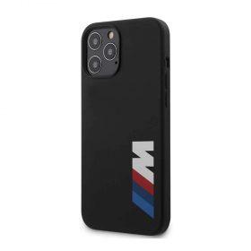 كفر BMW - M Collection Liquid Silicone Case Printed Big Logo for iPhone 12 Pro - أسود