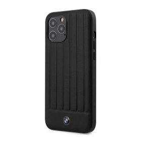 كفر BMW - PC/TPU Shiny Hard Case Genuine Leather with Vertical Hot Stamped Lines for iPhone 12 Pro Max - أسود