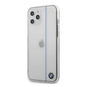 كفر BMW - PC/TPU Shiny Hard Case Blue Vertical Line for iPhone 12 Pro - شفاف