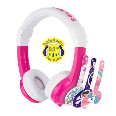 سماعة رأس قابلة للطي مع ميكروفون من BuddyPhones - وردي