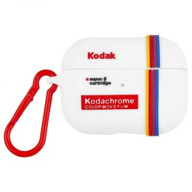 كفر سماعة Case-Mate - Kodak AirPods Pro Case - أبيض مع مشبك أحمر