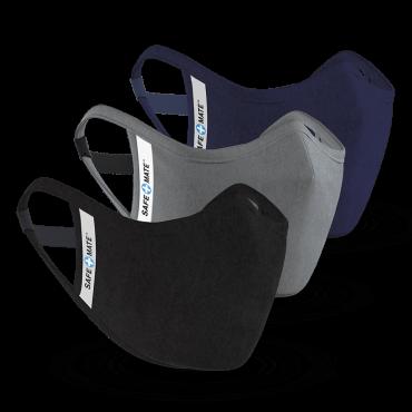 كمامة قماش 3 عبوات Case-Mate - Safe Mate Washable Cloth Mask – أسود/أزرق/ رمادي