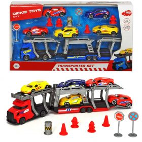 لعبة ناقلة سيارات مع 5 سيارات DICKIE - Transporter Set