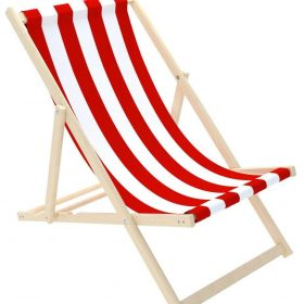 كرسي الشاطئ للأطفال Delsit - Sunbed for Children - White Stripes - أحمر