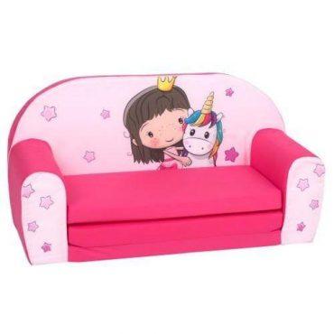 أريكة و سرير 2 في 1 Delsit Sofa Bed  - فوشي يليق بالأميرات مع رسمة وحيد القرن