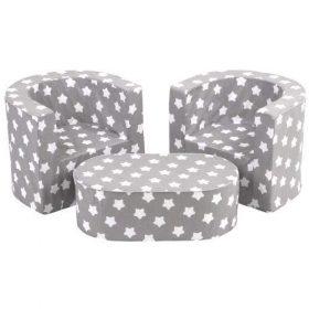 مجموعة من طاولة وكرسيين Delsit  Combo Set - 2 Chairs + Table  - رمادي مع نجوم بيضاء