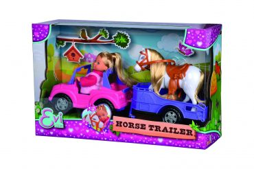 لعبة دمية مع حصان  SIMBA - EL Evi Horse Trailer