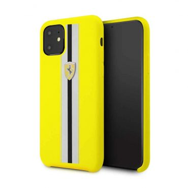 Ferrari Silicone Case On Track & Stripes For iPhone 11 - Yellow_x000D_