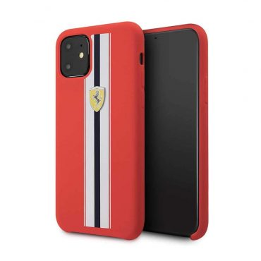 Ferrari Silicone Case On Track & Stripes For iPhone 11 - Red_x000D_
