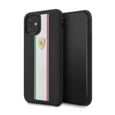 Ferrari SIlicone Case On Track & Stripes For iPhone 11 - Black_x000D_