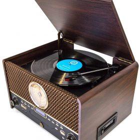 راديو كلاسيكي خشبي GPO Retro - Attache Chesterton Vinyl Record Player- Digital - Bluetooth - USB