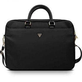 "حقيبة اللابتوب Guess Nylon Computer Bag with Metal Triangle Logo 15"" - Black"