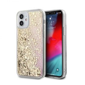 """كفر Guess Liquid Glitter 4G Pattern Gradient Background for iPhone 12 Mini (5.4"""") - Gold"""