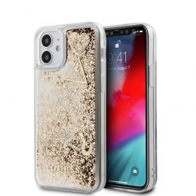 "كفر Guess Liquid Glitter ``HEARTS`` Charms Hard Case for iPhone 12 Mini (5.4"") - Gold"