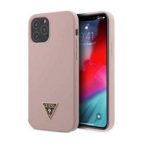 "كفر Guess Liquid Silicone Case w/ Metal Logo for iPhone 12 / 12 Pro (6.1"") - Pink"