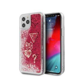 "كفر Guess Liquid Glitter ``HEARTS`` Charms Hard Case for iPhone 12 Pro Max (6.7"") - Rapsberry"