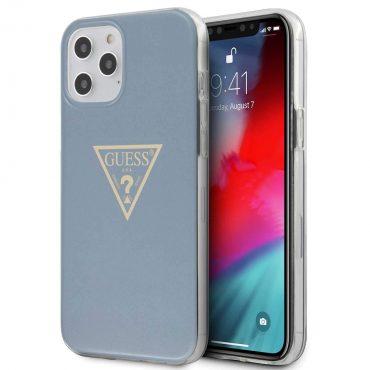 "كفر Guess PC/TPU Metallic Triangle Hard Case for iPhone 12 Pro Max (6.7"") - Light Blue"