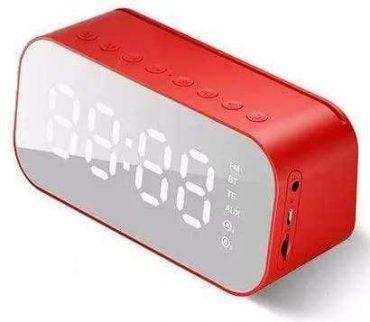 ساعة منبه مع سماعة بلوتوث Havit Clock Bluetooth speaker MX701 - أحمر