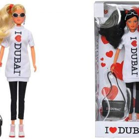 لعبة دمية I LOVE DUBAI مع شنطة كتف SIMBA - I Love Dubai