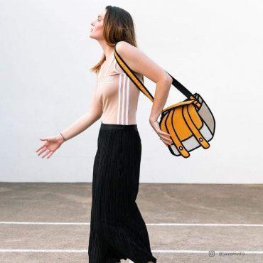 حقيبة كتف من JUMP FROM PAPER - برتقالي 10.5 إنش