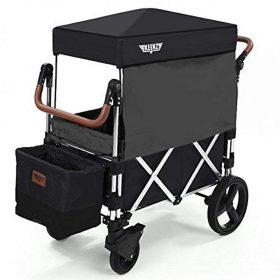 عربة أطفال قابلة للطي Keenz 7S Premium Deluxe Foldable Wagon-Stroller - أسود