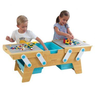 طاولة لعب قابلة للفتح KidKraft - Building Bricks Play N Store Table