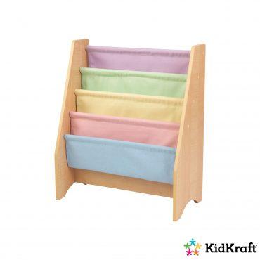 خزانة مع جيوب قماش KidKraft - Sling Bookshelf Pastel