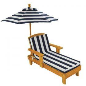 كرسي استرخاء مع مظلة KidKraft - Outdoor Chaise with Umbrella - كحلي / أبيض