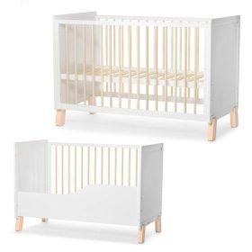 Kinderkraft سرير أطفال خشبي NICO guardrail white