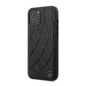 كفر Mercedes - Benz Genuine Leather Hard Case Quilted Perforated Leather and Metal Star Logo for iPhone 12 Pro Max - أسود