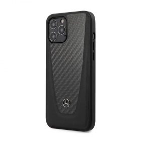 """كفر Mercedes-Benz Genuine Leather Hard Case Smooth Leather-Carbon Fiber and Metal Star Logo for iPhone 12 / 12 Pro (6.1"""") - Black"""
