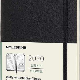 أجندة ملاحظات Moleskine - 12 Months Agenda Weekly Horizontal 2020   - أسود